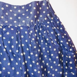 XXI blue & silver polka dot mini skirt pockets EUC